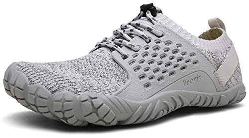 Voovix Barfußschuhe Herren Damen Outdoor Fitnessschuhe Traillaufschuhe Atmungsaktive Minimalistische Laufschuhe(Grau,46)