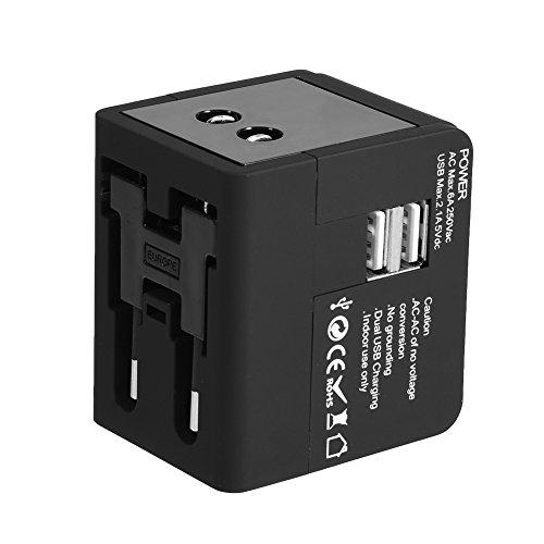 4 Tipos de Adaptador o Convertidor de Enchufe de Pared de Viaje Extranjero para Cargar Universal Todo en uno con Puerto USB 2