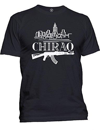 Victory Ink Men's Chiraq Chicago Graphic Tee OG Hip Hop Gangster T-Shirt (L, Black)