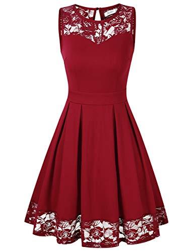 Vestido de cóctel sin mangas cuello redondo, – varios colores