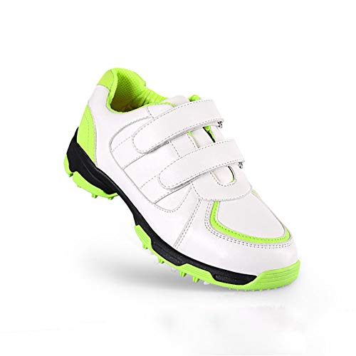 FJJLOVE Kinder Golfschuh, Jungen Im Freien Wasserdichten Breathable Anti-Skid Golfschuhe Leichte Turnschuhe Lauf,Grün,36