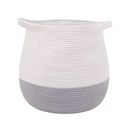 Childishness ndup - Cesta de almacenamiento tejida grande, 45 x 42,9 cm, cesta de cuerda de algodón para juguetes, lavandería y...