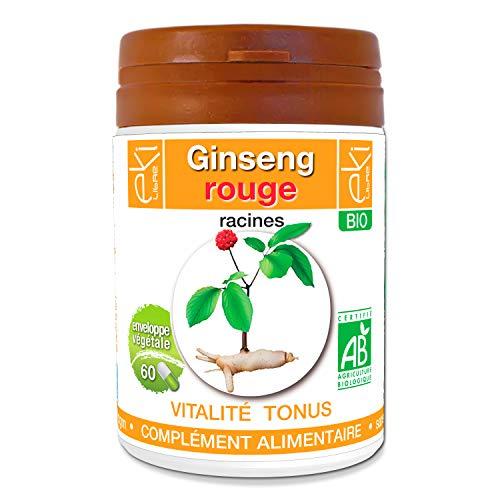 Ginseng rouge BIO | 60 gélules | Vitalité Et Tonus | 320 mg dosage 100% naturel sans additif et non comprimé | EKI LIBRE