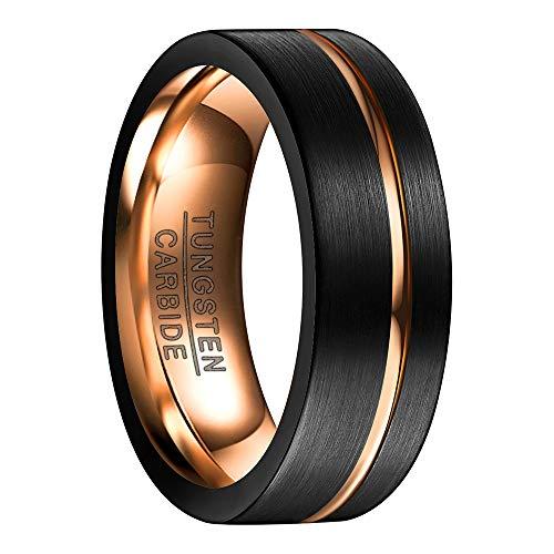 NUNCAD Ring für Frauen schwarz+Rosegold 8mm, Wolfram Ring Damen für Hochzeit, Verlobung, Hobby, mit rosegoldenem Einschnitt, Größe 56