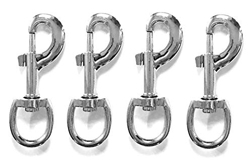 ALAZCO 4pc 3.5'' Inch by 1/2-Inch 70 Lbs Round Steel Swivel Eye Bolt Snap Hook Multipurpose Pet Leash Flag Pole Key Chain Clothlines Tarp Cover - Nickel Plated