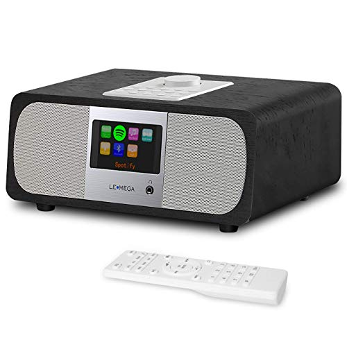 Digital DAB FM Internet Radio,Desktop Alarm Clock Radio with Bluetooth, Spotify Connect, Dual Stereo Speakers, Audio Out, Aux In, 2.8 TFT Colour Display,Remote Control,20W RMS- Black