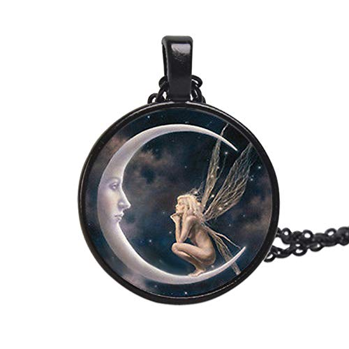 Women Fashion Elegant Angel on Moon Art Photo Round Cabochon Glass Charm Chain Necklace for Party Daily Jewelry Gift - Black