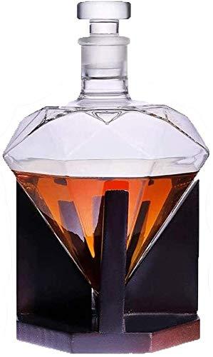 HLR Vasos de Whisky Jarra de Whisky Whisky Jarra y Vasos, Decorado, Diamante garrafa 850 Ml Incluyendo Decanter Soporte, Whisky Conjunto de la Jarra Giftset (Color : Transparent, Size : 850ML)