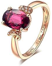 KnSam Anillo de compromiso de oro rosa de 18 quilates con turmalina, diamante y oro rosa