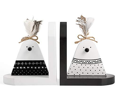 H & H Farm boekensteunen van hout, 15 x 13 x 17 cm, meerkleurig, 2 stuks
