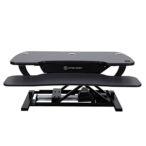 VersaDesk Power Pro - 36' x 24' Electric Height Adjustable Desk Riser - Sit to Stand Desktop with Keyboard and Mouse Tray - Black