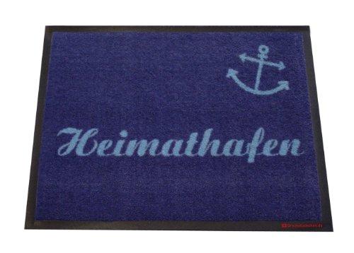 Dreckstückchen wash&go, Fußmatte mit Aufdruck: Heimathafen, robuste Schmutzfangmatte, maschinenwaschbar bei 40 Grad