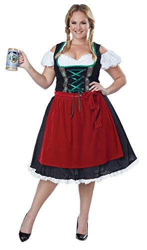 California Costumes Women's Oktoberfest Fraulein Plus Size Costume, Black/Red, 3X