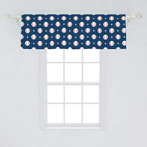 Ambesonne Sports Window Valance, Baseball Patterns on Vertical Striped Background Stars Design, Curtain Valance for Kitchen Bedroom Decor with Rod Pocket, 54' X 18', Blue Red