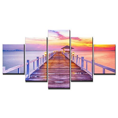 ZXYJJBCL Plank Road Am Abend 5 Panel Wandkunst Für Moderne Kunstwerke Für Wohnzimmer Esszimmer Home Decor Dekoration Geschenk