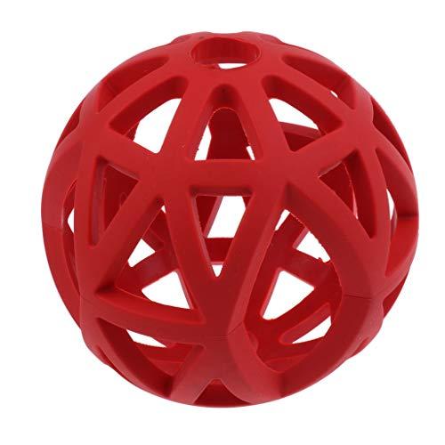 petsola Gitterball Vollgummi Flexibel Hundespielzeug Ball Kauspielzeug Gummi Ball - Rot - M