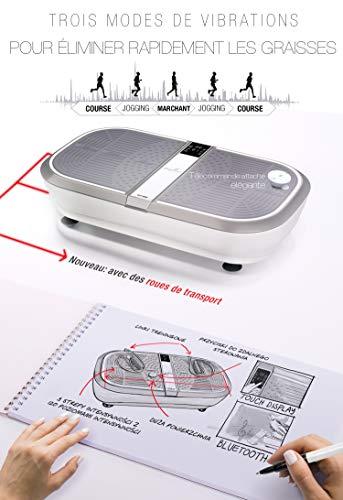 Sportstech 3D Vibration Plate VP300 | Mega Fat Burner + 5 bandes de fitness supplémentaires | Vaste surface +2x1000W Puissance moteur + Haut-parleur Bluetooth + Télécommande | Fitness Training at Home