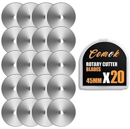 Cemok 20 cuchillas de 45 mm para cortador giratorio OLFA/Fiskars/Driffy/Cemok