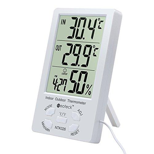 Neoteck Termometro igrometro digitale LCD con cavo...