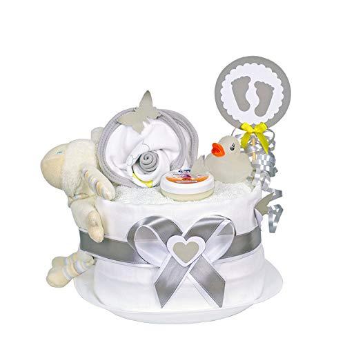 MomsStory - mini Windeltorte neutral | Schaf Greifling | Baby-Geschenk zur Geburt Taufe Babyshower | 1 Stöckig (Weiß) Baby-Boy & Baby-Girl (Unisex) mit Baby-Spielzeug Lätzchen & mehr
