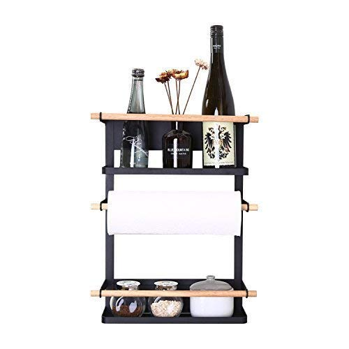 Magnetic Paper Towel Holder with Two Tier Storage Shelf and 6 Utensil Hooks