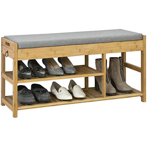 SoBuy® FSR47-N Schuhbank mit Sitzfläche und Schubladen, Garderobenbank Schuhregal Sitzbank Bambus, BHT ca: 90x45x30cm