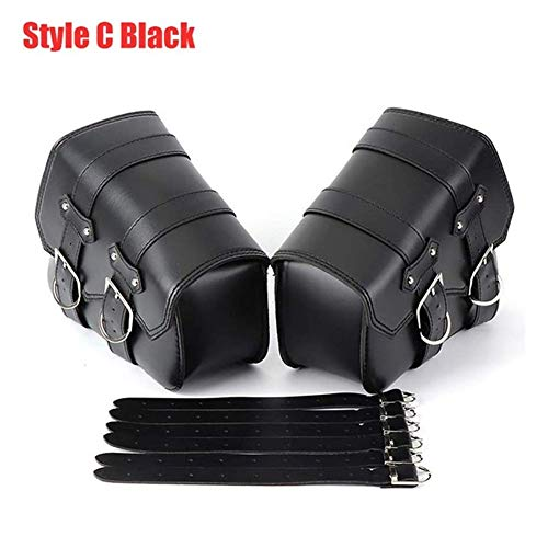 Motorcycle Motorbike Side Tool Bag Out Door Luggage For Sportster XL 883 1200 Motorcycle Saddle Bags Pu Leather Motorcycle Bag (Color : Style C black)