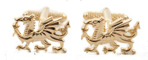 Boutons de manchette Gallois dragon plaqué or Boîte Cadeau incluse