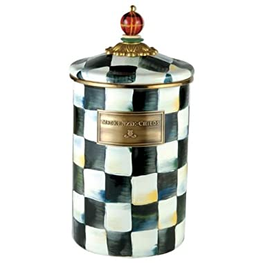 MacKenzie-Childs Courtly Check Enamel Canister - Large 5  dia., 7  tall