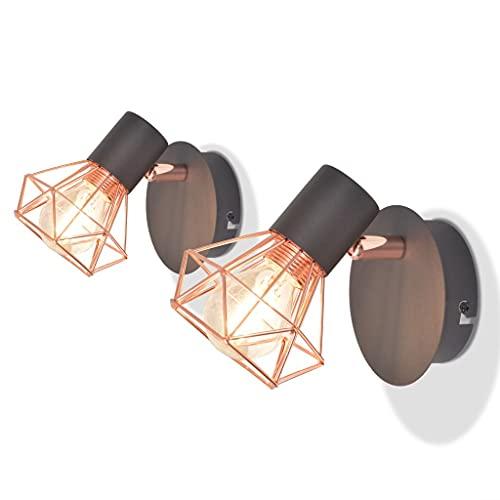 vidaXL 2X Lampe Murale avec 2 Ampoules LED à Incandescence 8 W Applique