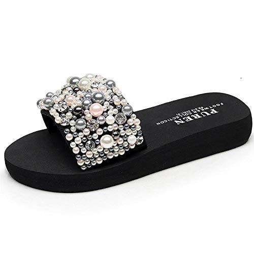 Zapatillas Casa Chanclas Sandalias Zapatos De Playa para Mujer, Sandalias De Plataforma Alta, Chanclas De Cuña, Zapatillas Hechas A Mano con Pendiente, Zapatos Femeninos-Tacón-Altura-3Cm_5