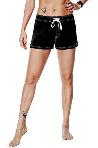 unitop Women's Board Shorts Tankini Bottom Lightweight Quick Dry Hawaiian Black 30