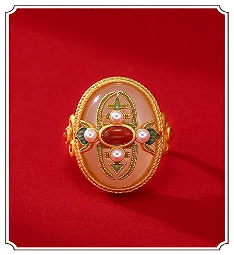 JIUXIAO Elegante Vintage Ladies Khotan Jade 925 Anillo de Plata esterlina Mujeres con Incrustaciones de Perlas Esmalte Hecho a Mano Accesorios de joyería chapados en Oro