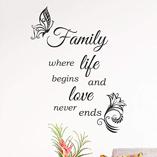 Wall4Stickers® Familie Wand Zitat Home Liebe Küche Dekor Vinyl Aufkleber Aufkleber Wandbild Kunst Tattoo Family where life begins and love never ends
