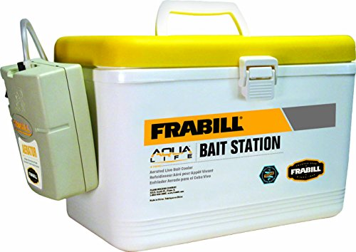 Frabill Bait Box with Aerator | Live Bait Storage Cooler with Portable Aerator | 8-Quart Capacity