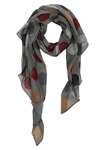 Zwillingsherz Seidentuch Halstuch Schal aus Seide und Baumwolle für Damen Mädchen Kinder - Hochwertiges Tuch Schultertuch im bunte Punkte Design - Perfekt für Frühjahr Sommer Herbst Winter - oliv