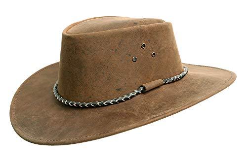 Kakadu Lederhut Echuca in braun mit geschwungener Krempe und Rundkordel-Hutband | Herren Damen Größe XL | 2. Wahl