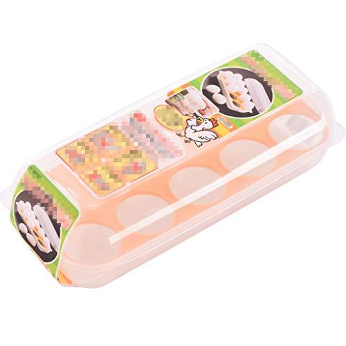 Huevera portátil Cartón de huevos for el almacenamiento frigorífico con tapa, 10 Bandeja de huevos, la cocina del sostenedor del huevo de plástico con ranura for tarjeta, duradero, Frigorífico Organiz