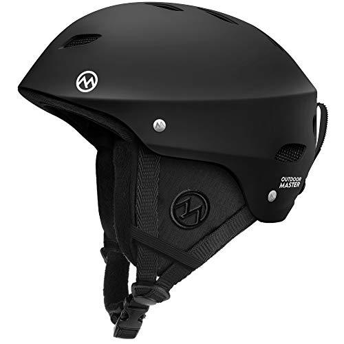 OutdoorMaster Ski Helmet - Snowboard Helmet for Men, Women & Youth (Black,L)