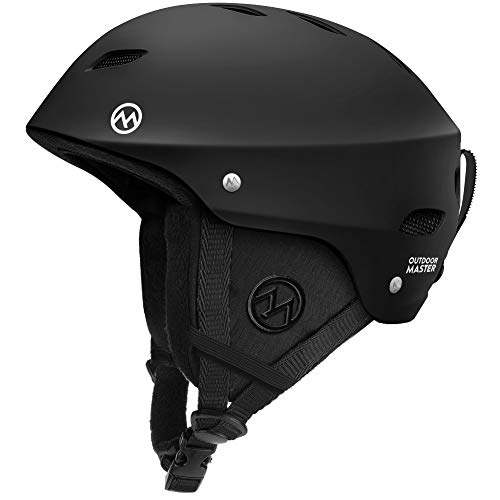 OutdoorMaster Ski Helmet - with ASTM Certified Safety, 9 Options - for Men, Women & Youth (Black,L)