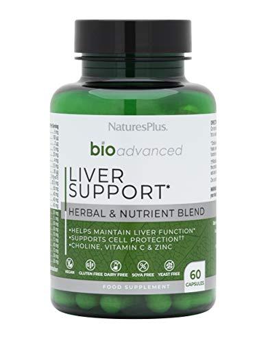 NaturesPlus BioAdvanced Liver Support - Liver Health - Turmeric, Artichoke, Milk Thistle, Dandelion, Choline and Methyl Bs - Dairy, Gluten, Yeast and SOYA Free - Vegan - 60 Capsules, 30 Servings