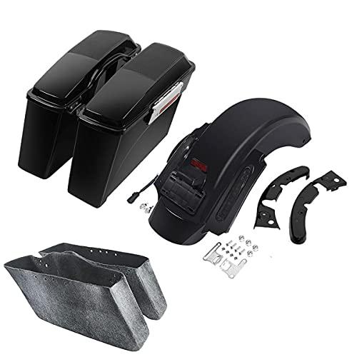 """TCMT Hard Saddlebags 6X9"""" Speaker Lids LED Rear Fender Fit For Harley Touring Road King Electra Glide Street Glide Road Glide 2009-2013"""