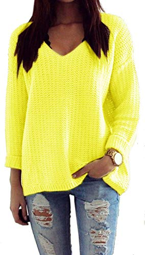 Mikos* Las Mujeres de Manga Larga de Punto Jersey Suéter Suelto Jumper Tops de Punto Primavera Verano (627 Amarillo Fluorescente)