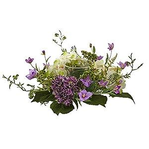 Silk Flower Arrangements Nearly Natural 7in. Mini Hydrangea Berry Candelabrum Silk Arrangements Purple,11'' x 6.75'' x 11''
