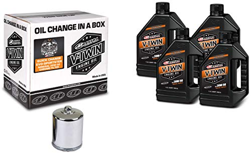 Maxima Racing Oils 90-069014C Chrome Engine Oil Change Kit (Quick Change Evo-Sportster Mineral 20W-50 Filter), 4 quart, 1 Pack