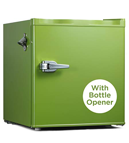 Compact Beverage Refrigerator, Retro Style Single Door Mini Fridge, 1.6cu.ft Home Small Fridge Cooler with one Glass Shelf, Using for Home,Office,Dorm(Emerald Green)
