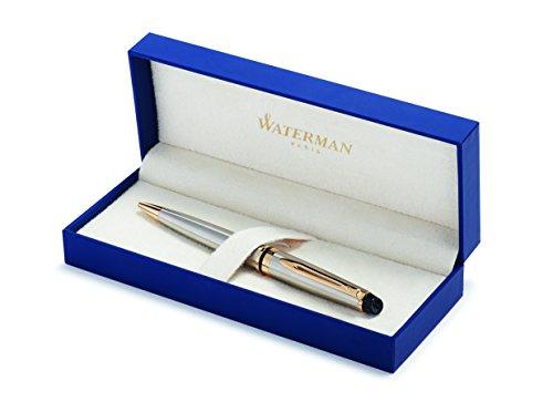 Waterman Expert Kugelschreiber | Edelstahl mit Zierteile aus 23K Gold | Mittlere Spitze | Blaue Tinte | Geschenkbox