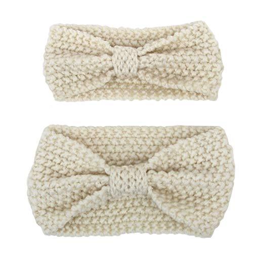 Boomly Gebreide hoofdband voor moeder en baby, voor de winter, warme wollen hoofdband, geknoopt, haarband, tulband, ouders en kinderen, haarverzorgingsproducten