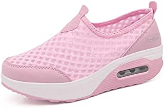 ZJSWIN Summer New Rocking Shoes Air Cushion Women's Shoes Mesh Casual Sports Thick Platform Shoes Women's Shoes (Color : Pink, Size : 37EU)