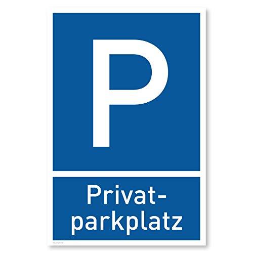 Privatparkplatz Schild (20x30 cm Kunststoff) - Parken Verboten - Privat - Klares Zeichen setzen - Parkplatz Schilder Privatgrundstück - Leicht zu montieren (Blau)